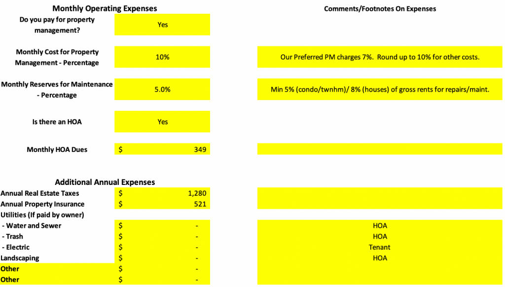 Property Operating Expenses analysis spreadsheet