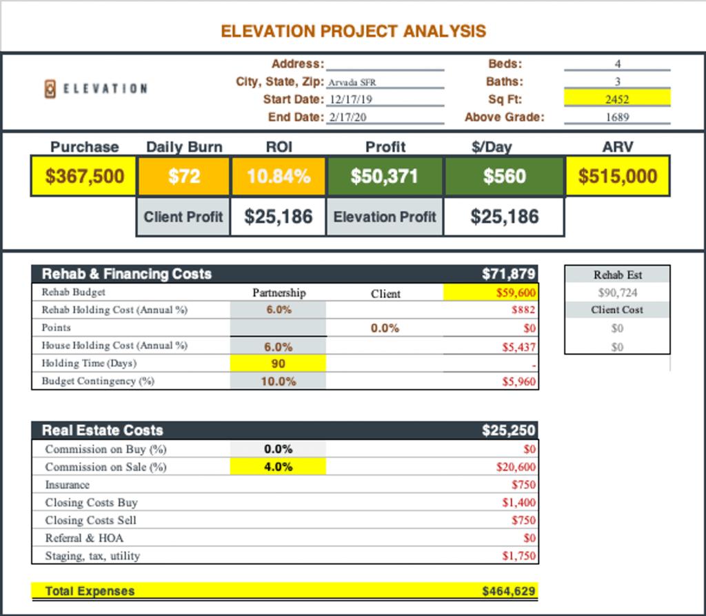 Flipping analysis spreadsheet