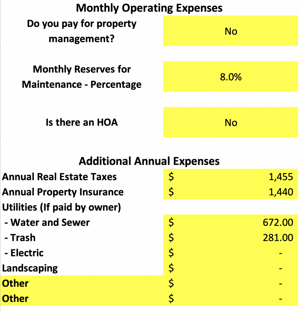 monthly operating expenses house hack spreadsheet
