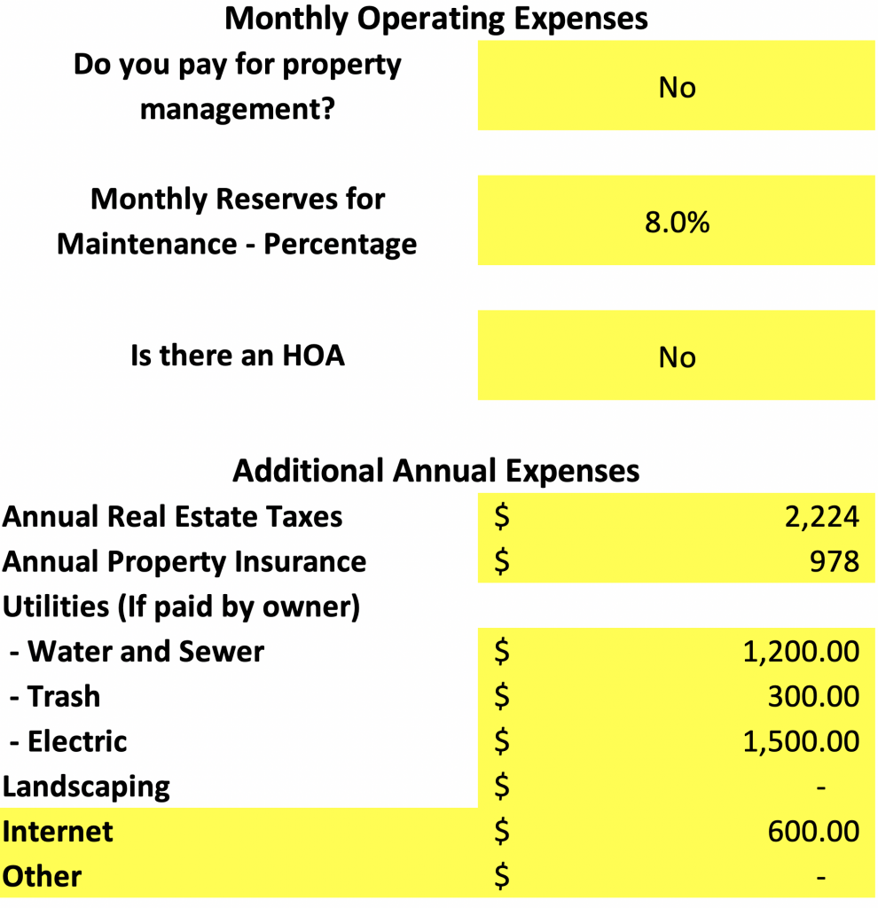 house hack monthly operating expenses spreadsheet