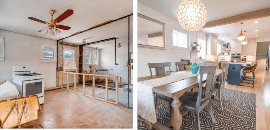 Denver home renovation pop top and basement rebuild living room remodel