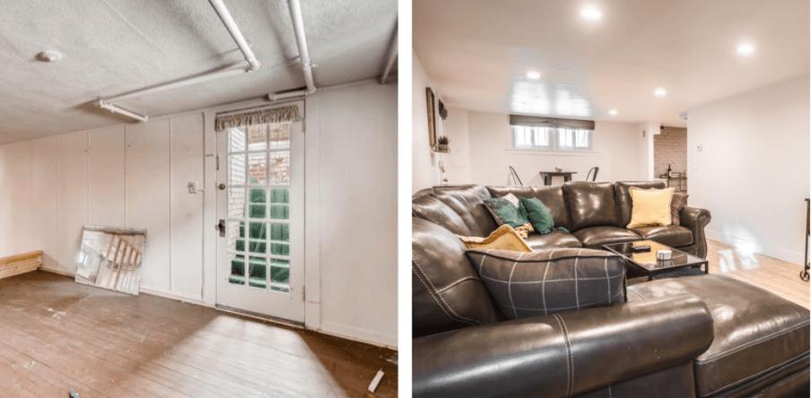 Denver home renovation pop top and basement rebuild family room remodel