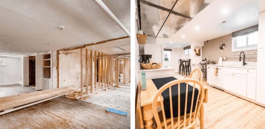 Denver home renovation pop top and basement rebuild basement unit remodel