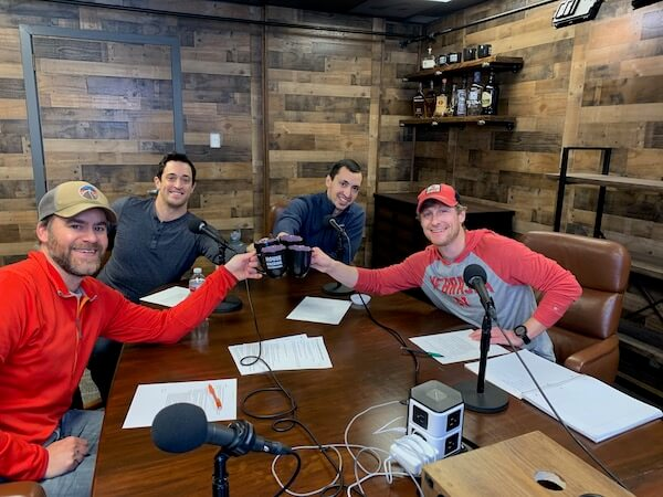 chris lopez, Jeff White, Andrew Lloyd and Ben Einspahr breaking i the new Denver studio with House Hack Mastermind #5