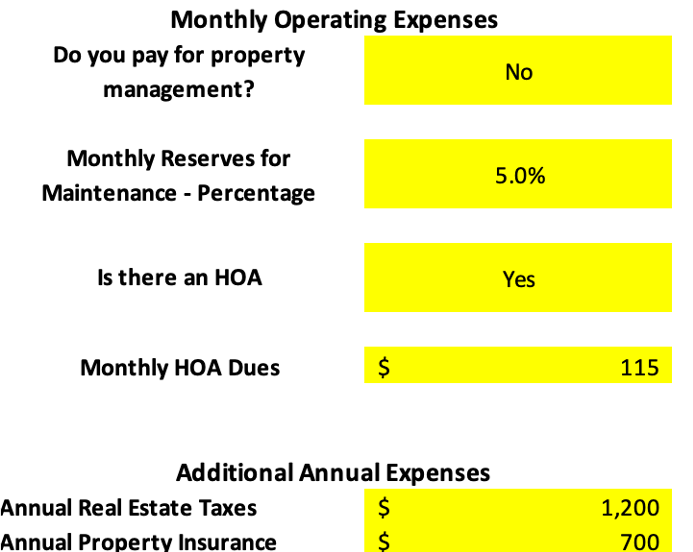 Property Operating Expenses analysis spreadsheet turnkey townhome
