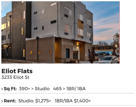 Denver syndication comps Eliot Flats