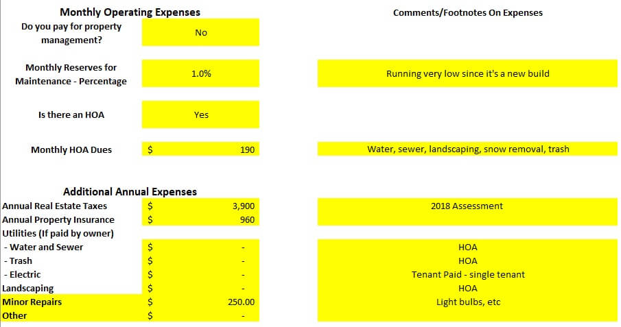 Property Operating Expenses analysis spreadsheet Denver house hack rental