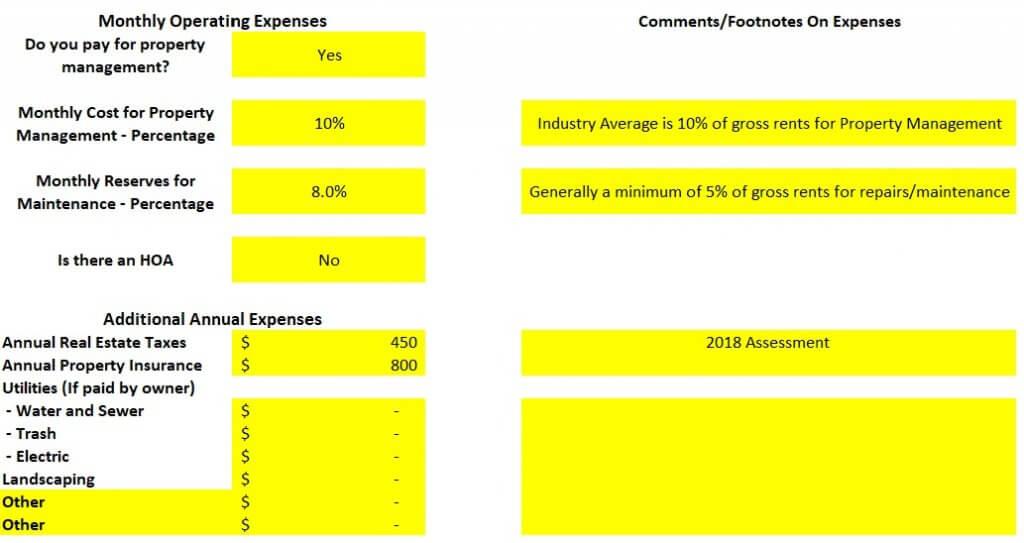 Property Operating Expenses analysis spreadsheet 2 bedroom 1 bath rental Pueblo Colorado