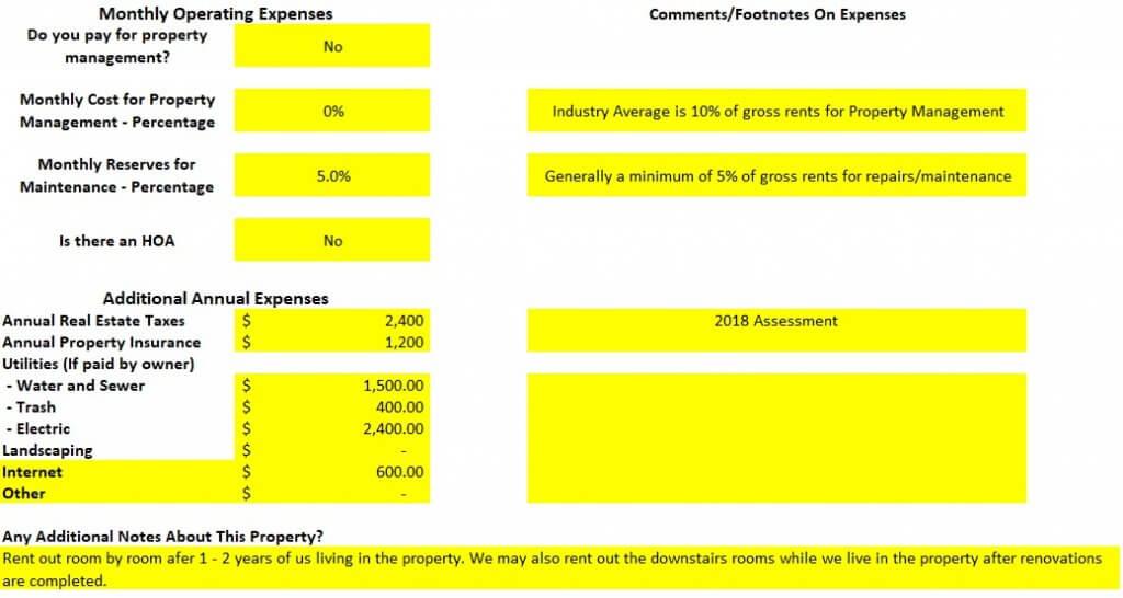 Property Operating Expenses analysis spreadsheet Aurora house hack rental