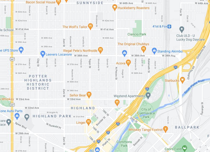 Denver LoHi rental with ADU real estate map