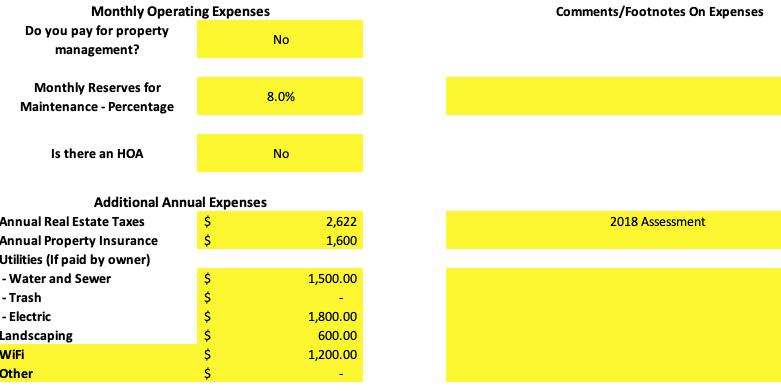 Property Operating Expenses analysis spreadsheet Denver LoHi rental with ADU