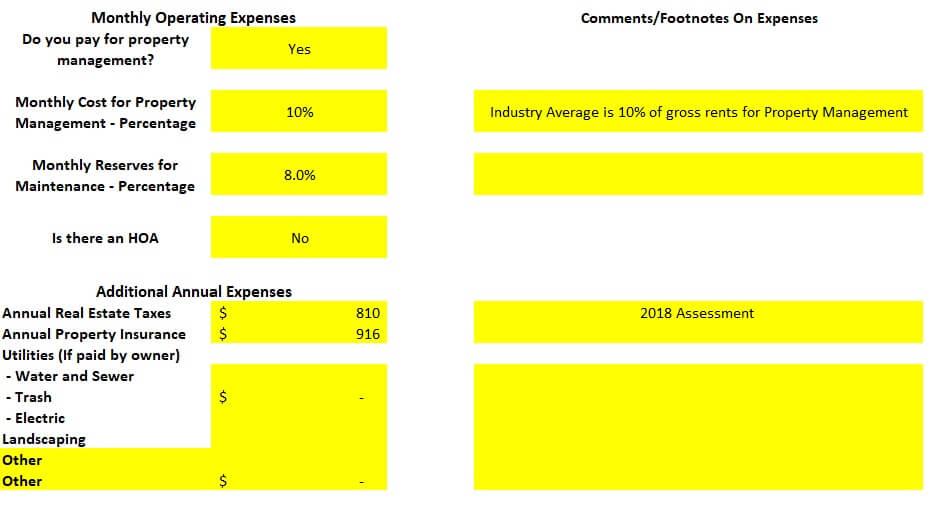 Property Operating Expenses analysis spreadsheet Colorado Springs rental