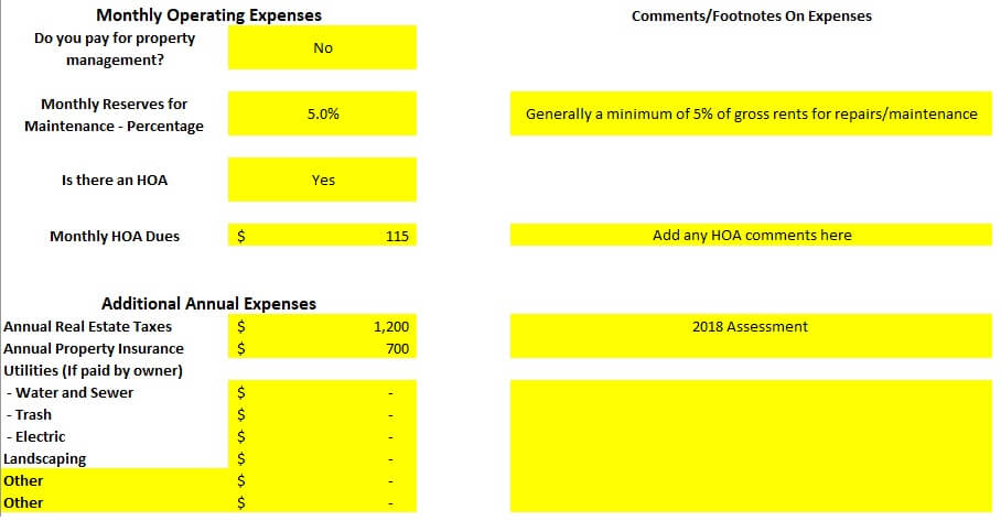 Monthly Operating Expenses Long Term