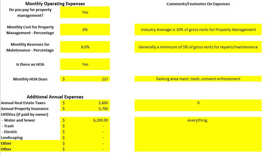 Eight Unit Multi Family in Colorado Springs Monthly Operating expenses spreadsheet