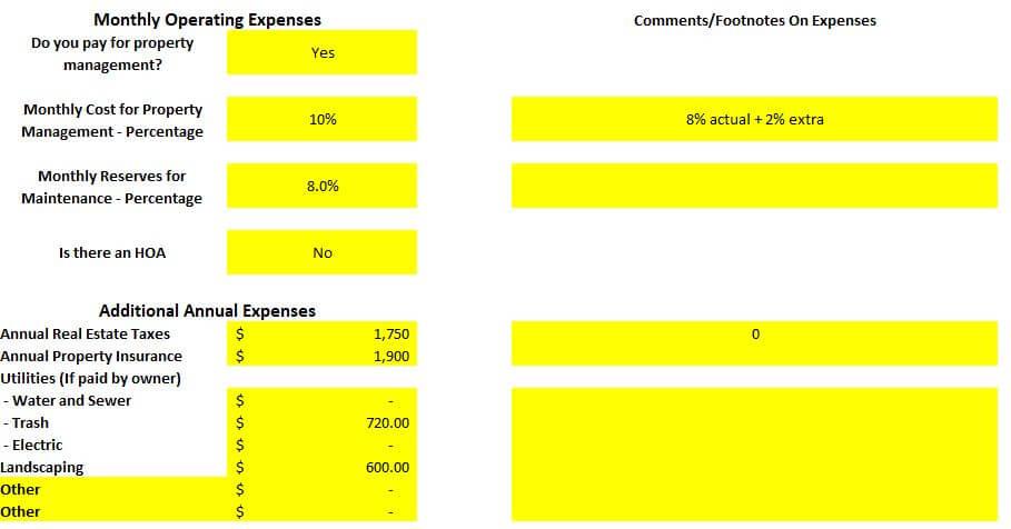 Colorado Springs fourplex property operating expenses spreadsheet