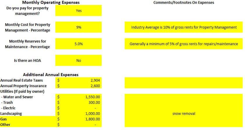 Rental property spreadsheet property operating expenses Arvada duplex