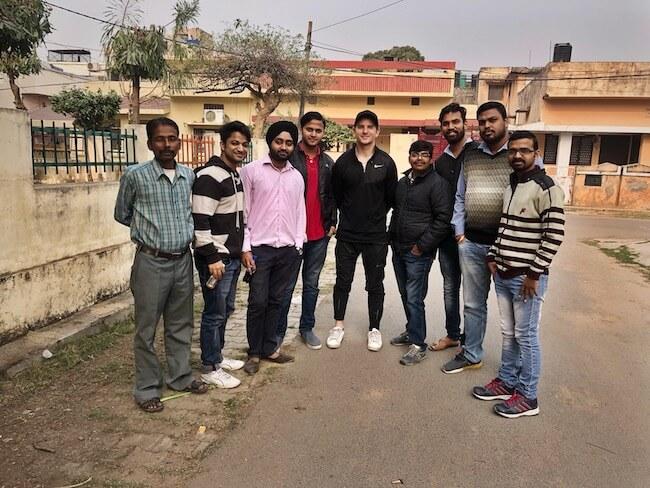 Zach Garfias in India with software development team