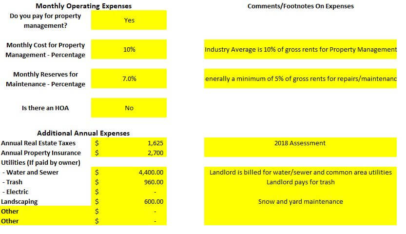 Fourplex multifamily investment property in Colorado Springs monthly operating expenses spreadsheet