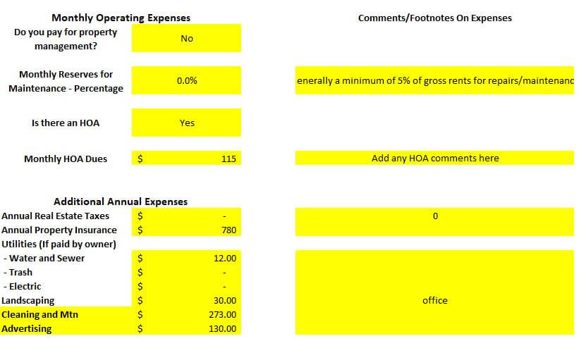 actual monthly expenses rental property