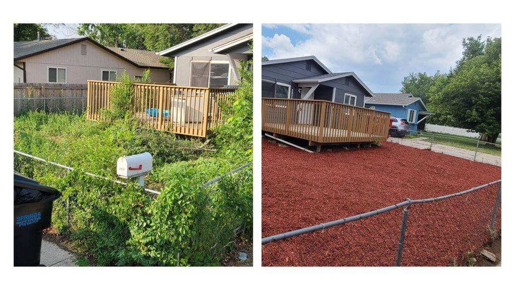 side by side yard renovation in Colorado Springs rental
