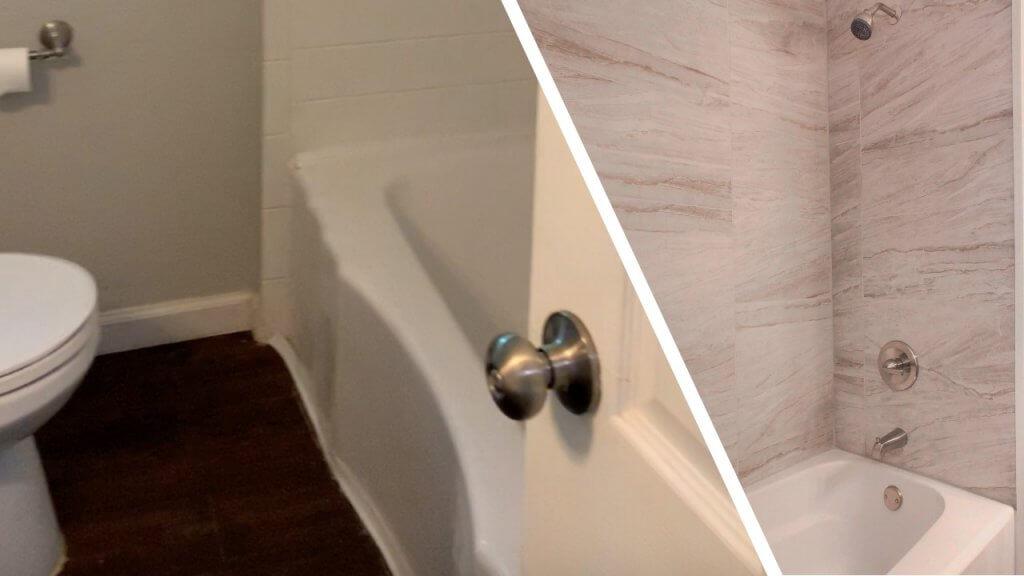side by side before after bathroom remodel in rental