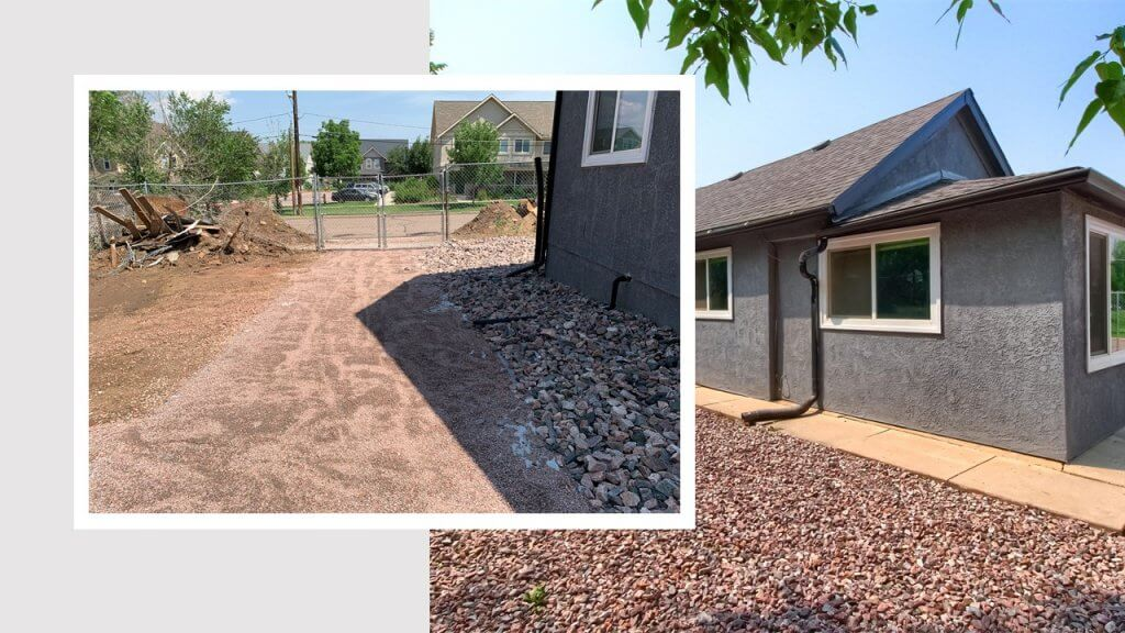 before after yard renovation in rental property